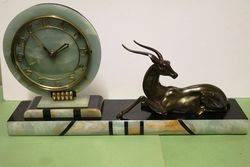 Art Deco MarbleOnyx and Spelter Mantle Clock