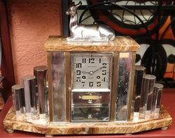 Art Deco Marble 8 Day Mantel Clock