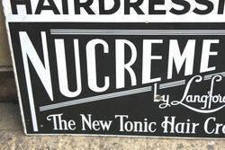 Art Deco Nucreme Hairdressing Enamel Advertising Sign