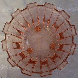 Art Deco Pink Glass Bowl