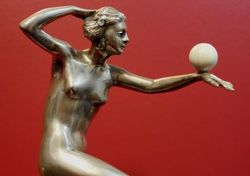 Art Deco Silver Bronze Figure with Ivorry Ball