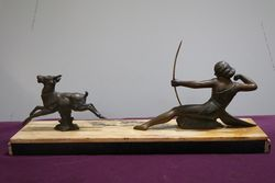 Art Deco Spelter + Marble Group of Diana Two Hunters