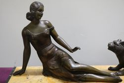 Art Deco Spelter + Marble Group of a Maiden With Big Cat