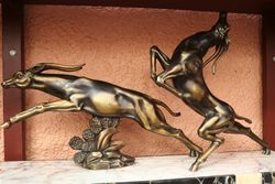 Art Deco Spelter Antelopes Group Signed By Limousin
