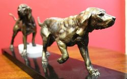 Art Deco Spelter Dog Group on Marble Base