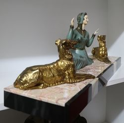 Art Deco Spelter and Ivorine Group  Friends At Rest