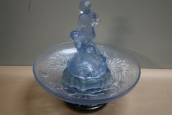 Art Deco Walther + Sohne Blue Glass Peter Pan Float Bowl On Stand