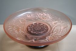 Art Deco Walther + Sohne Pink Glass Peter Pan Float Bowl + Stand