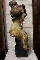 Art Nouveau Terracotta Bust   Signed Cherc   Dated 2441900