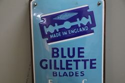 Blue Gillette Blades Advertising Enamel Wall Thermometer