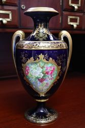 Blue Ground Vase With Gilt Work and Painting