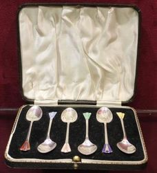 Boxed Set of 6 Silver and Enamel Spoons Birmingham 191314