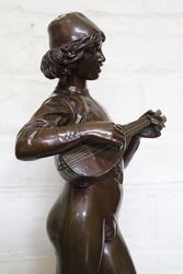 Bronze Figure By Paul Dubois Dated 1865 +quotLe Chanteur Florentia+quot
