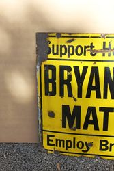 Bryant And May Matches Enamel Advertising Sign