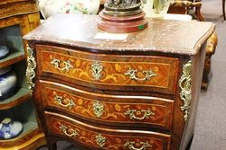 C20th French Marquetry Marble Top Commode