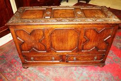 C20th Well Carved Two Drawer Oak Coffer