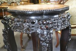 Carved Wooden Pedestal With Marble Top
