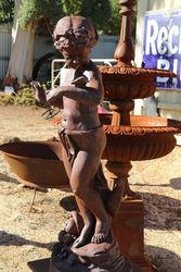 Cast Iron Cherub Figure With Butterfly On Stand