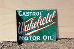 Castrol Wakefield Post Mount Enamel Sign