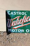 Castrol Wakefield Post Mount Enamel Sign