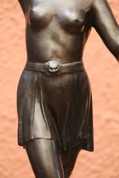 Classic Art Deco Spelter Figure of a Female Warrior