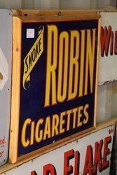 Classic Framed Robin Cigs Enamel Sign