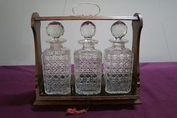 Cut Glass 3 Bottle Tantalus andquotoak Caseandquot C1920