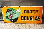 Douglas Cigarettes Pictorial Enamel Sign Arriving Nov
