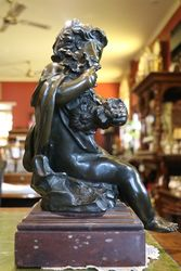 Early 19th Century Bronze Cherub On Marble Base  English  C1800 20