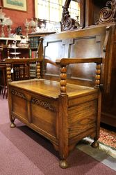 Early 20th Century English Oak Monks Bench