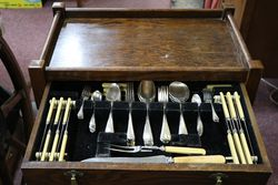 Early 20th Century Tea Trolley + Cutlery Canteen