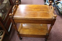 Early 20th Century Tray Top Oak Tea Trolley