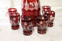 Early C20th Bohemian Cut Glass Decorater and 6 Glasses