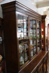 Early C20th Oak 3 Door Bookcase