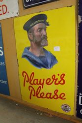 Early Players Please Yellow Ground Enamel Sign
