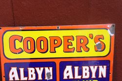 Early Rare Coopers Albyn Dip Enamel Advertising Sign