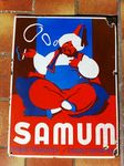 Early SAMUM Cigarette Paper Pictorial Advertising Enamel Sign