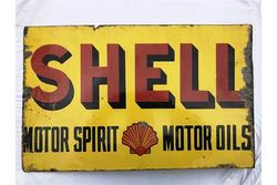 Early Shell Motor Spirit Double Sided Enamel Sign