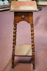 Early Twentieth Century Oak PlantStand With Barley Twist Legs