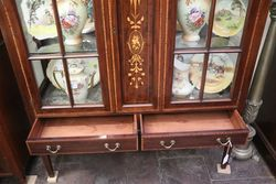 Edwardian Inlaid 2 Door Mahogany Display Cabinet