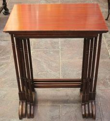 Edwardian Mahogany Nest of Four Tables with Satinwood Inlay