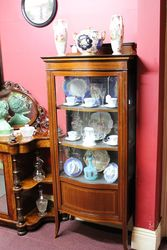 Edwardian Serpentine Glass Fronted Inlaid Display Cabinet