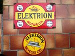Elektrion Motor Oil Enamel Advertising Sign.