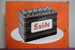 Exide Car Battery Advertising Enamel Sign