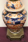 Fine + Rare 19th Century Hand Painted Imari Oil Lamp On Ormolu Base All Original