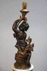 Fine Quality Antique Bronze Cherub On White Marble Column