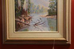 Framed Paint Lake Eildon Near Mansfield  By Ray Williamson