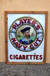 Framed Players Navy Cut Pictorial Enamel Sign