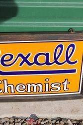 Framed Rexall Chemist Double Sided Enamel Sign