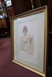 Framed Victorian Paint Charming Kate Dated 1888